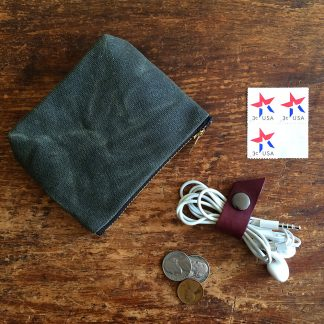 Jenneng Mini Waxed Canvas Pouch Dark Olive