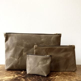 Jenneng Waxed Canvas Pouch Set Brown