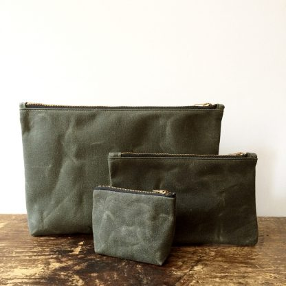 Jenneng Waxed Canvas Pouch Set Dark Olive