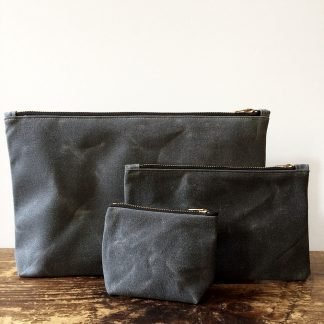 Jenneng Waxed Canvas Pouch Set Grey